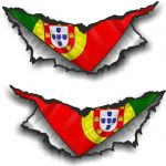 XLARGE Pair Triangular Ripped Torn Metal & Portugal Portuguese Flag Vinyl Car Sticker 300x140mm